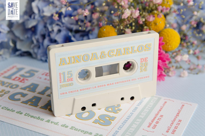 Invitacion vintage de musica detalle cassette