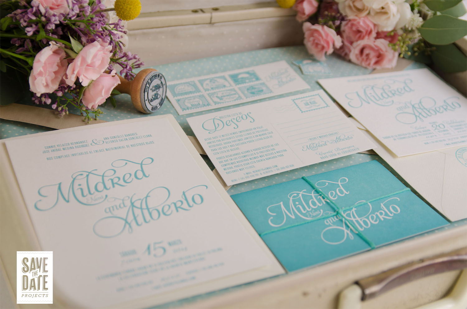 Invitaciones vintage mint save the date projects for Boda vintage