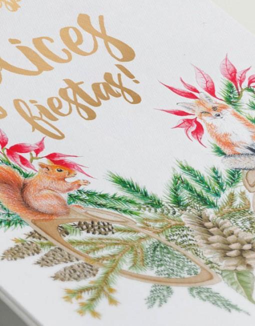 Postales navideñas impresas con dorado brillante