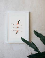 acuarela-botanica-donana-enmarcada-decoracion-marco-flamencos-volando