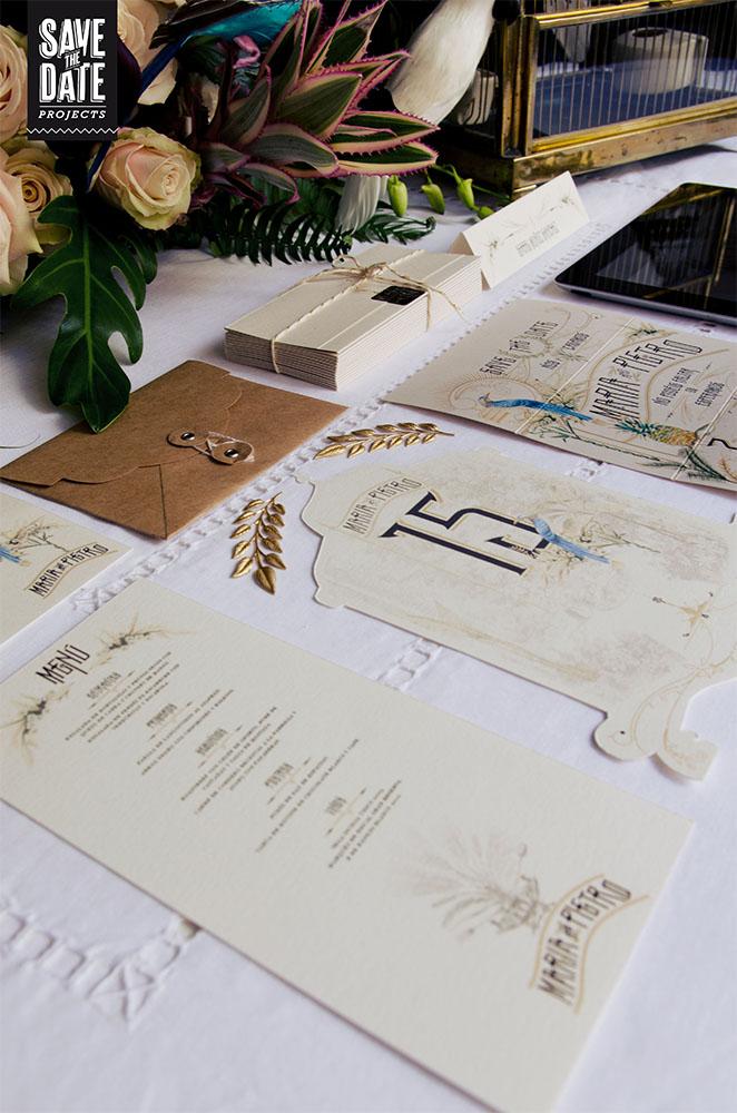 Invitaciones de boda vintage tropical indiano