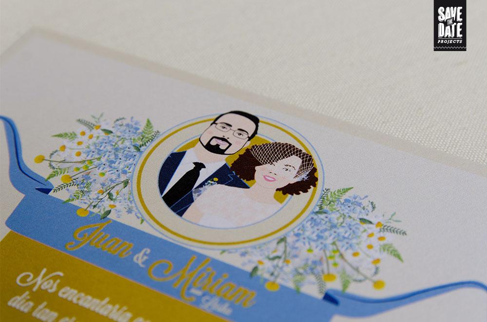 Detalle invitaciones de boda vintage personalizadas - logo