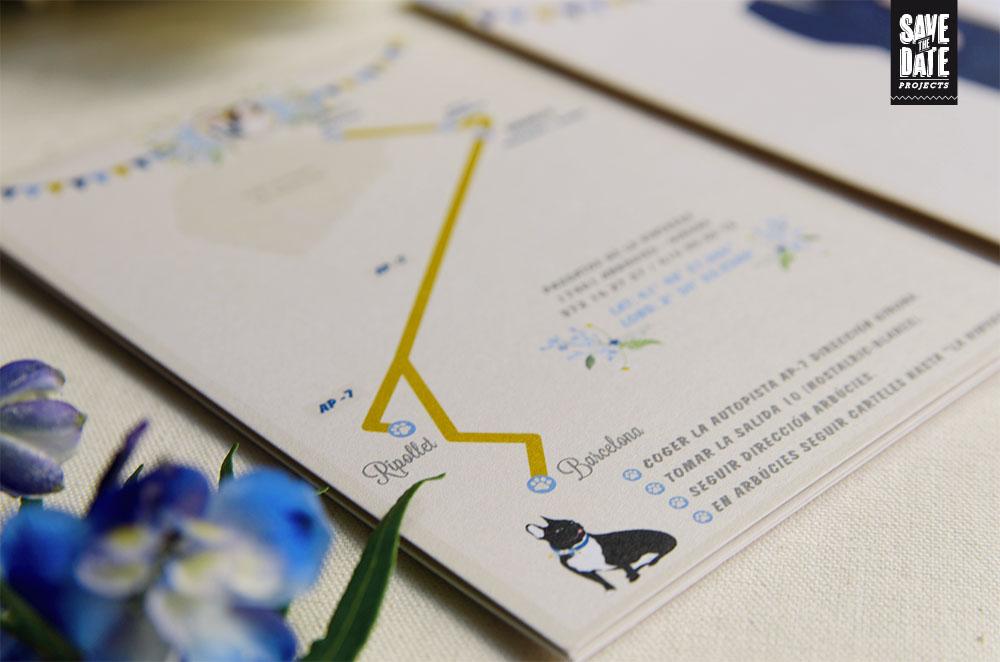 Detalle mapa personalizado para invitaciones de boda