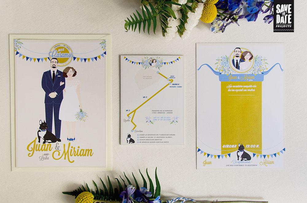 Invitaciones de boda vintage y mapa personalizado