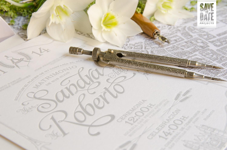 Impresión en letterpress para una invitación vintage