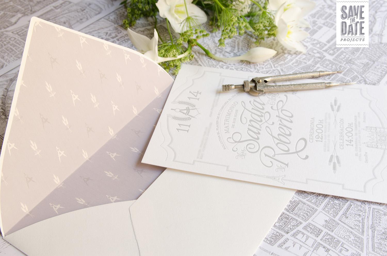 Invitaciones vintage realizadas en letterpress con logo personalizado