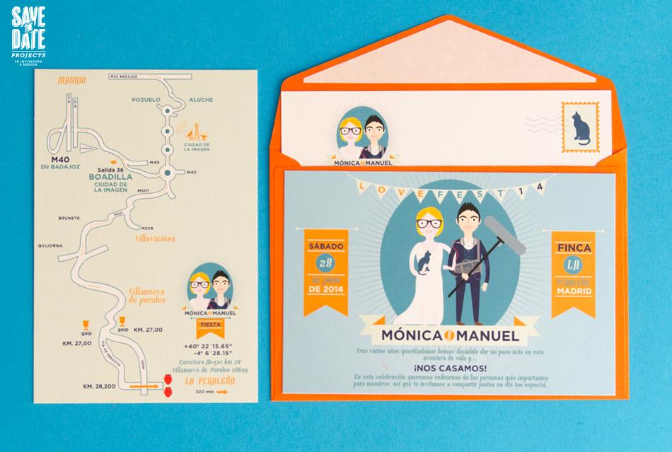 Invitaciones en forma de postal con retrato de novios