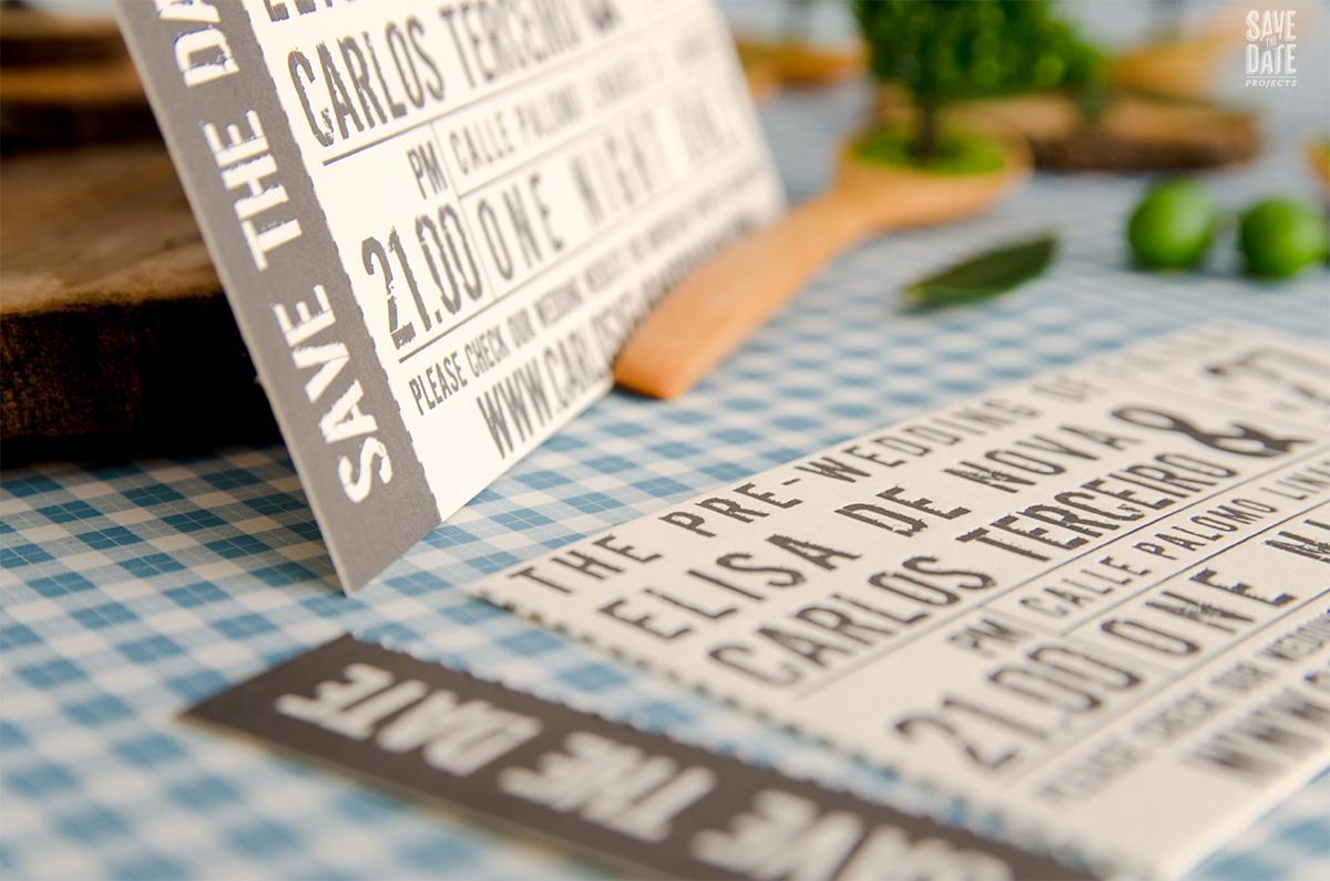 Save the Date pre boda entrada de concierto - letterpress