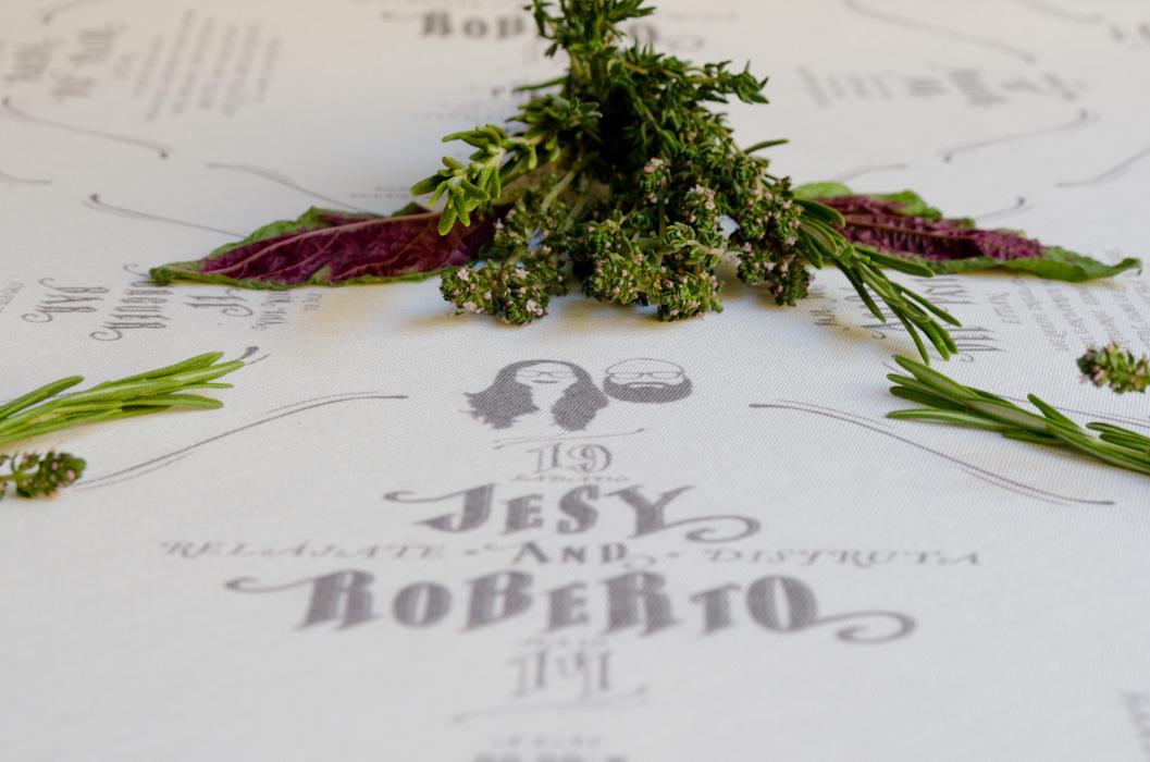 Unas minutas de boda impresas sobre tela