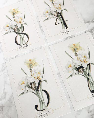 Detalles de boda hasta en los números de mesa o meseros