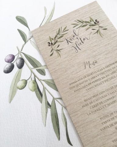 Minutas de boda colección olivos lino