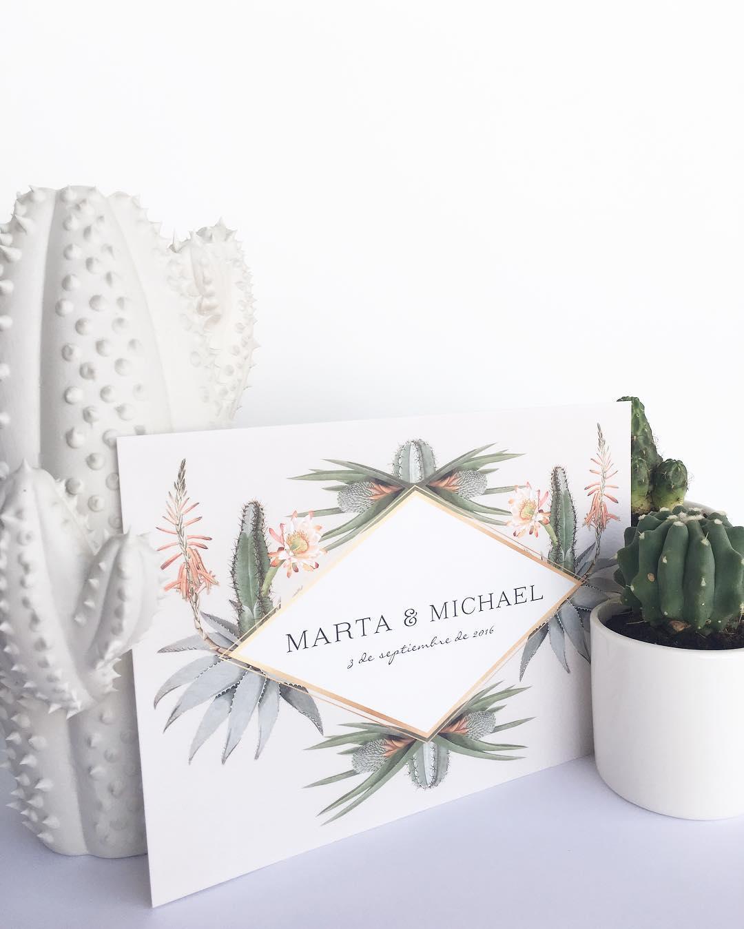 Invitaciones de boda en Madrid. Invitaciones con cactus