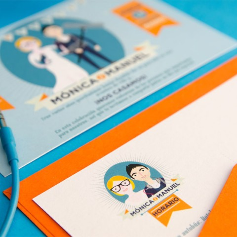 Invitaciones-de-boda-originales-con-forma-de-postal-y-retratos-de-novios-Logo-de-boda
