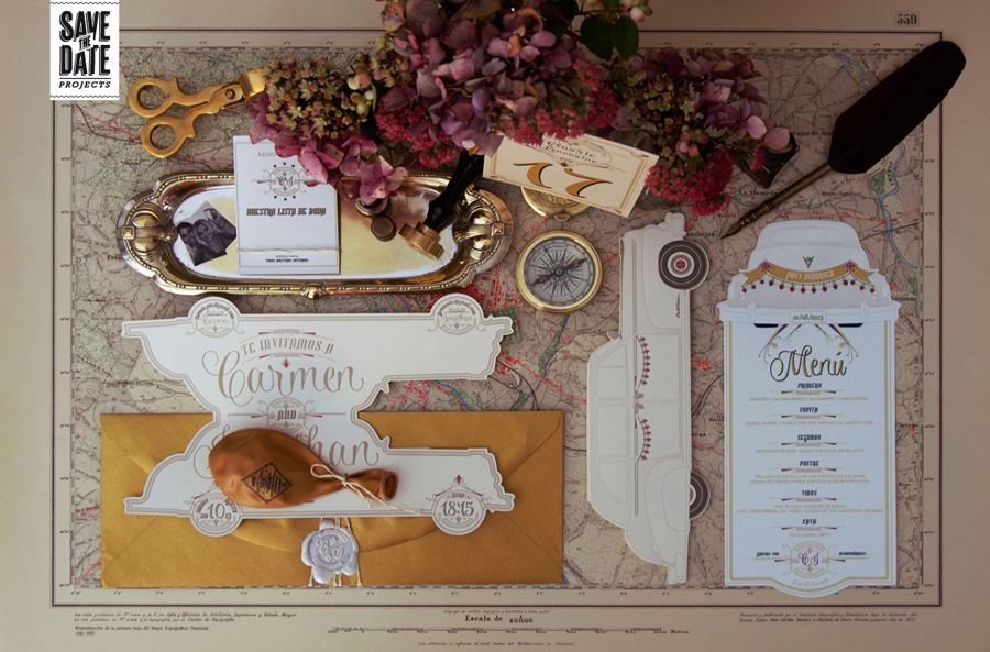Invitaciones de boda en letterpress con forma de coche