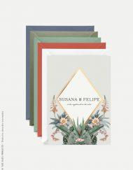 invitacion cactus y sobres