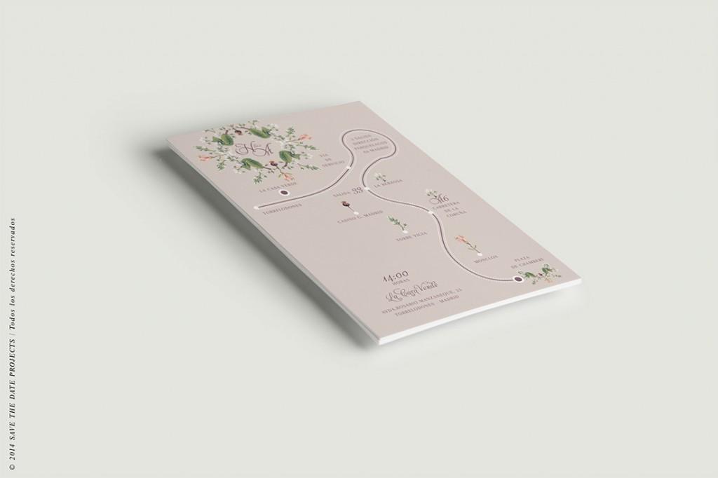 Mapa de boda clasica con flores