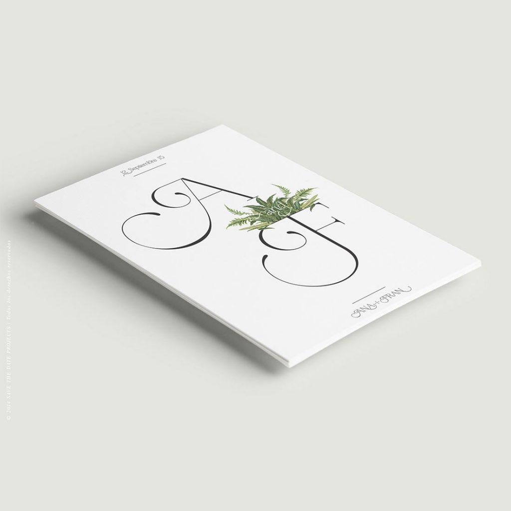invitacion de boda con helechos y elegante naturaleza verde