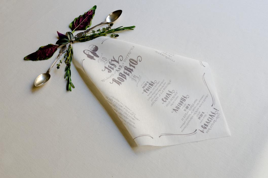 Minutas de boda impresa en servilleta