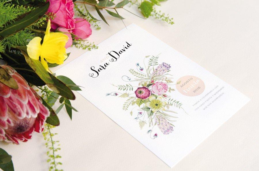 Invitaciones de boda con flores campestre acuarela