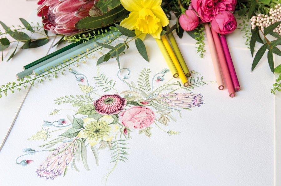 detalle ilustraciones de invitaciones de boda con flores