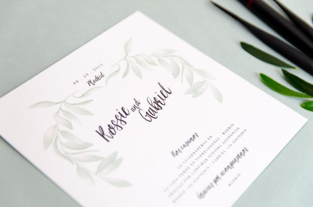 Invitaciones de boda originales que unen caligrafía y acuarela