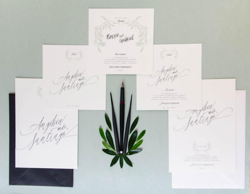 Invitaciones de boda originales - Caligrafía verticales y cuadradas