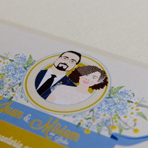 Invitaciones de boda personalizadas con dibujos de los novios