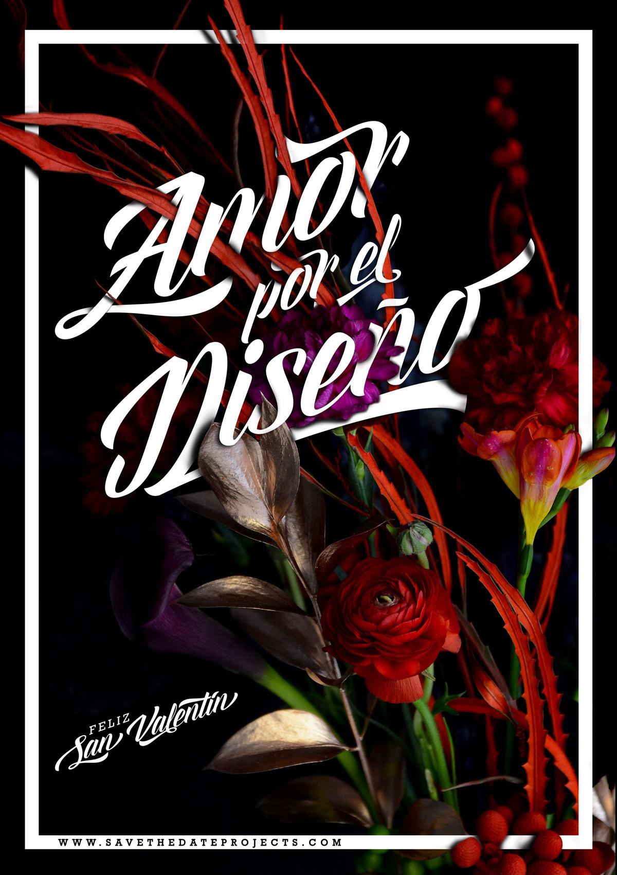 Poster con flores San Valentín 2015