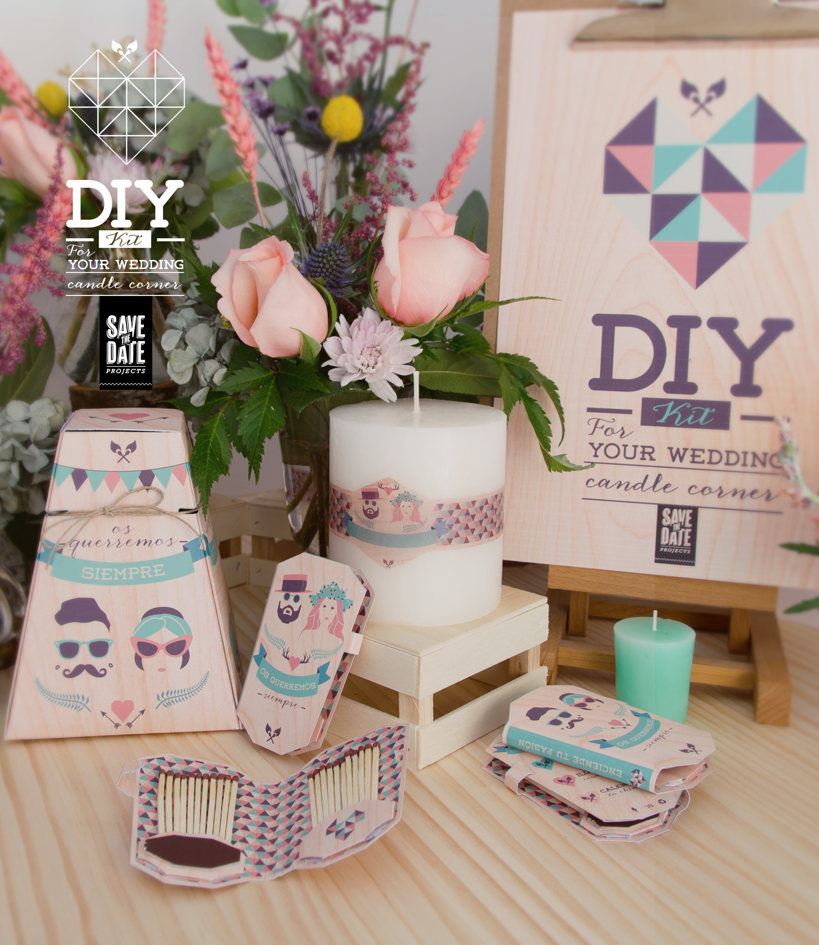 DIY hazlo tú mismo de Save the date projects - velas - cerillas - caja