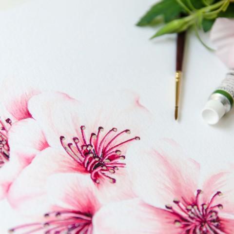Dibujo en acuarela original para Invitaciones de boda románticas-5233