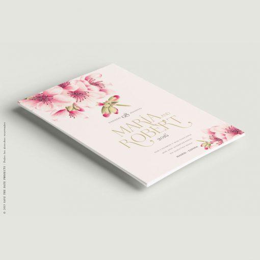 invitacion de boda con cerezos en flor