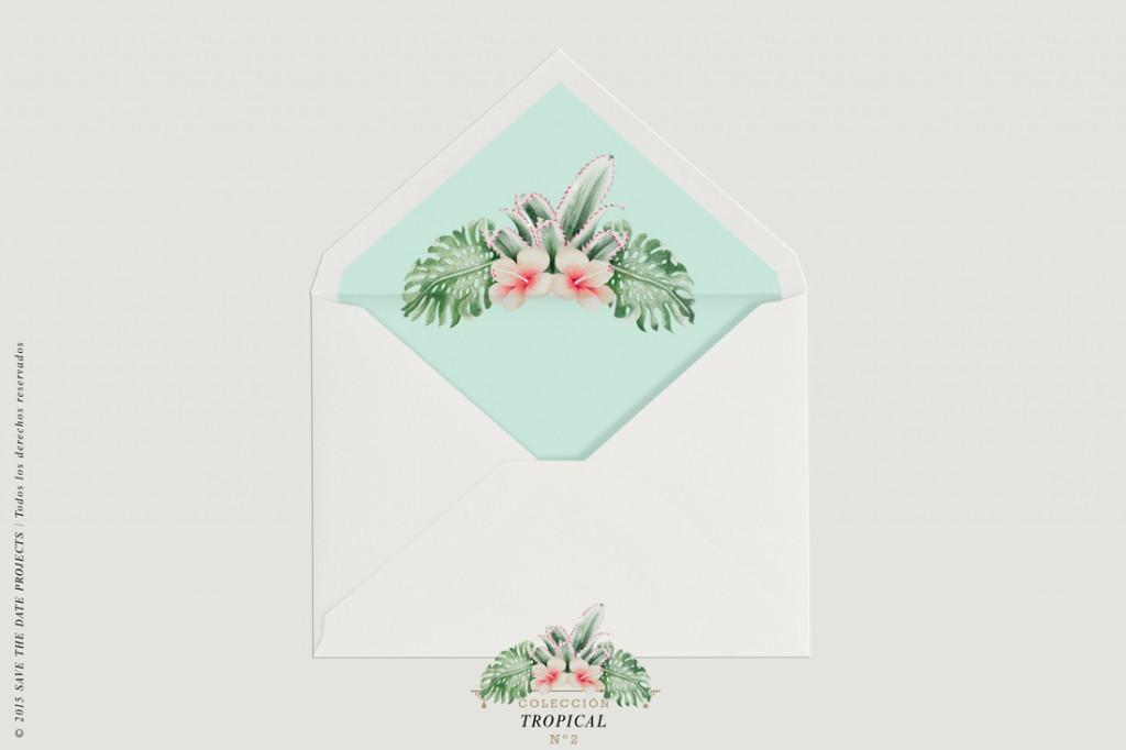 SOBRE-BLANCO-FORRO-PELICANOS-HOJAS-invitacion-tropical