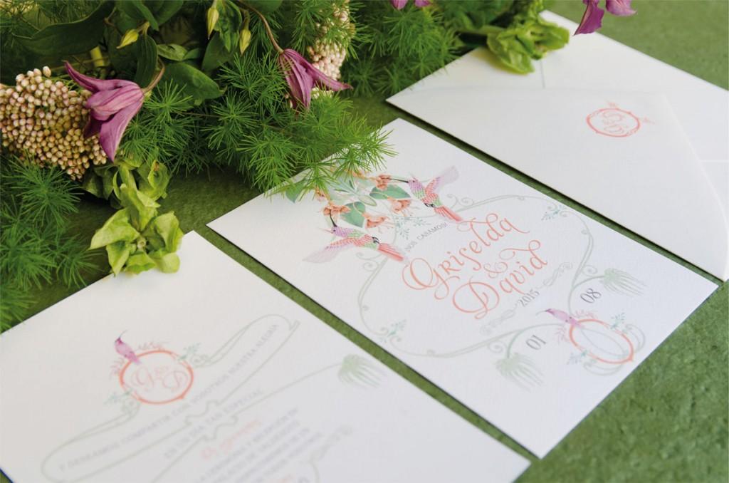 Sellos de caucho para invitaciones de boda