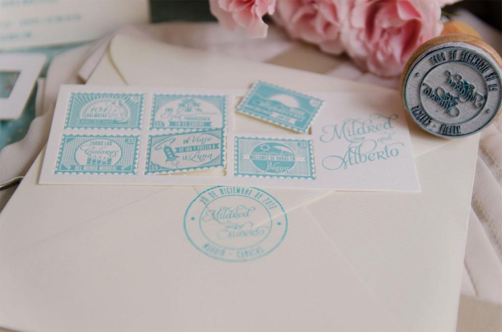 Sellos de caucho - Invitaciones de boda vintage en letterpress