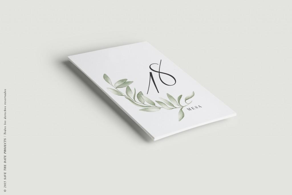 Menu de boda acuarela olivo