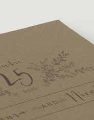 Tarjeta de confirmación en papel kraft - Anverso- Detalle