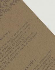 Menu de boda en papel kraft - detalle