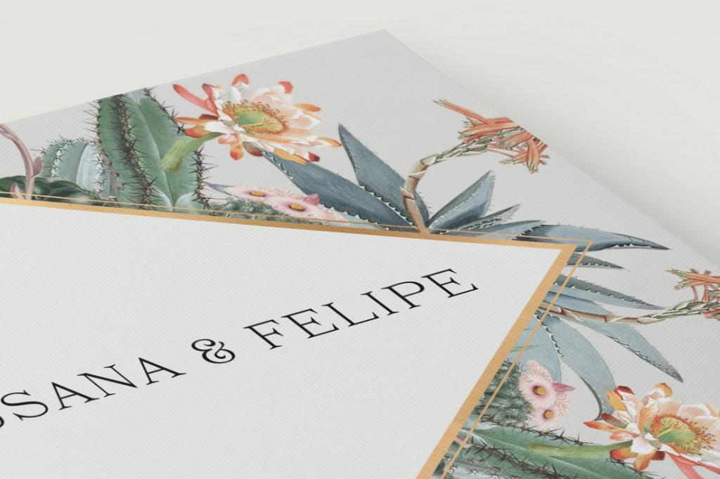 Invitaciones originales cactus - Tarjeta confirmación - Detalle