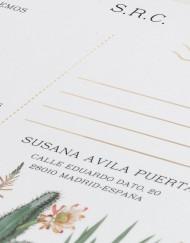 Invitaciones originales cactus - Tarjeta confirmación - Detalle - Postal