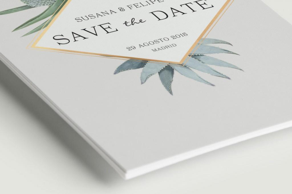 Save the date invitaciones de boda cactus - DETALLE