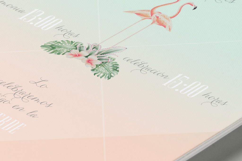 Invitaciones de boda tropical - Reverso