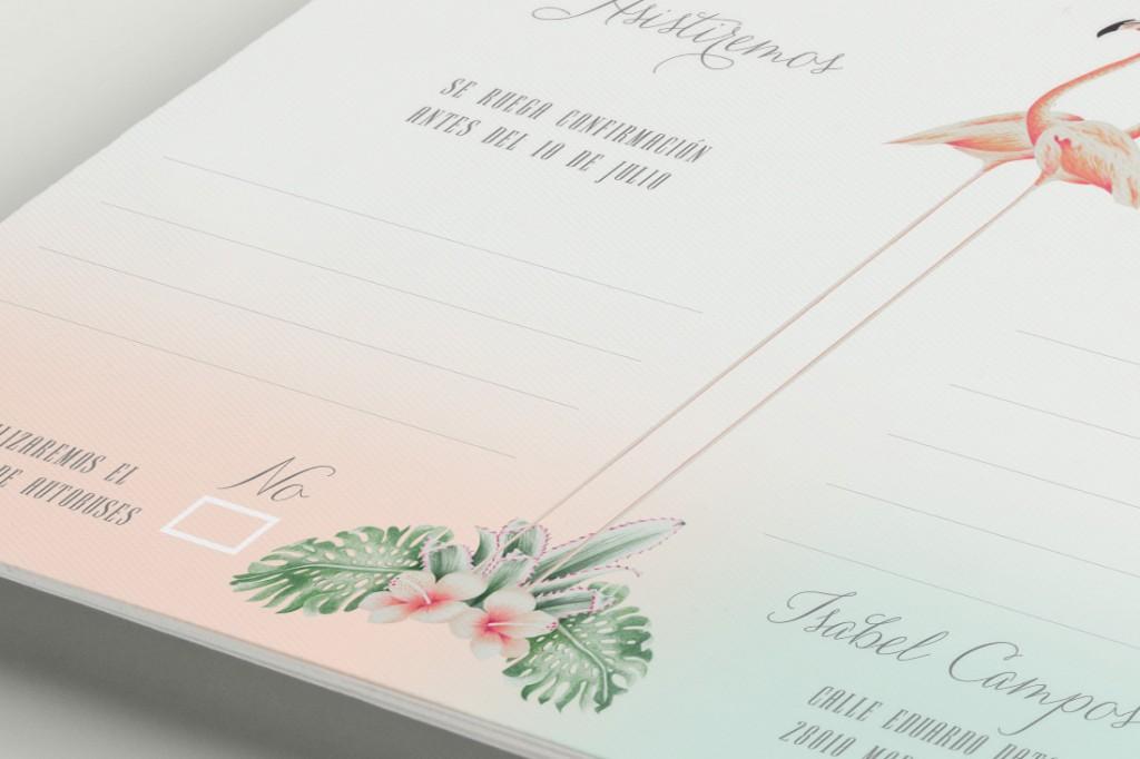 Invitaciones originales boda tropical - Tarjeta confirmación