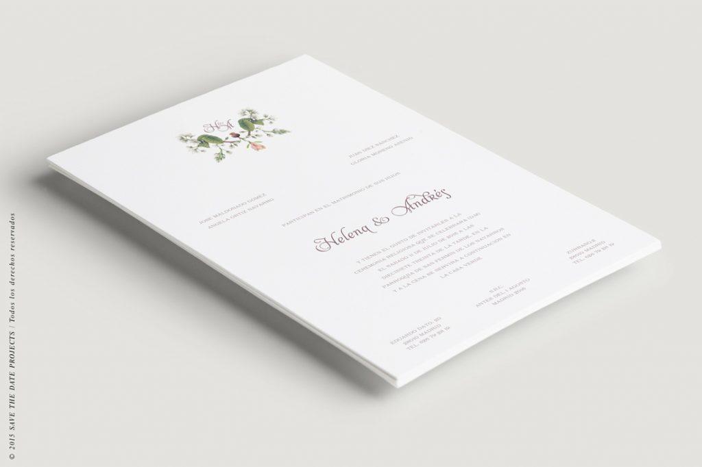 invitacion con flores clasica y elegante