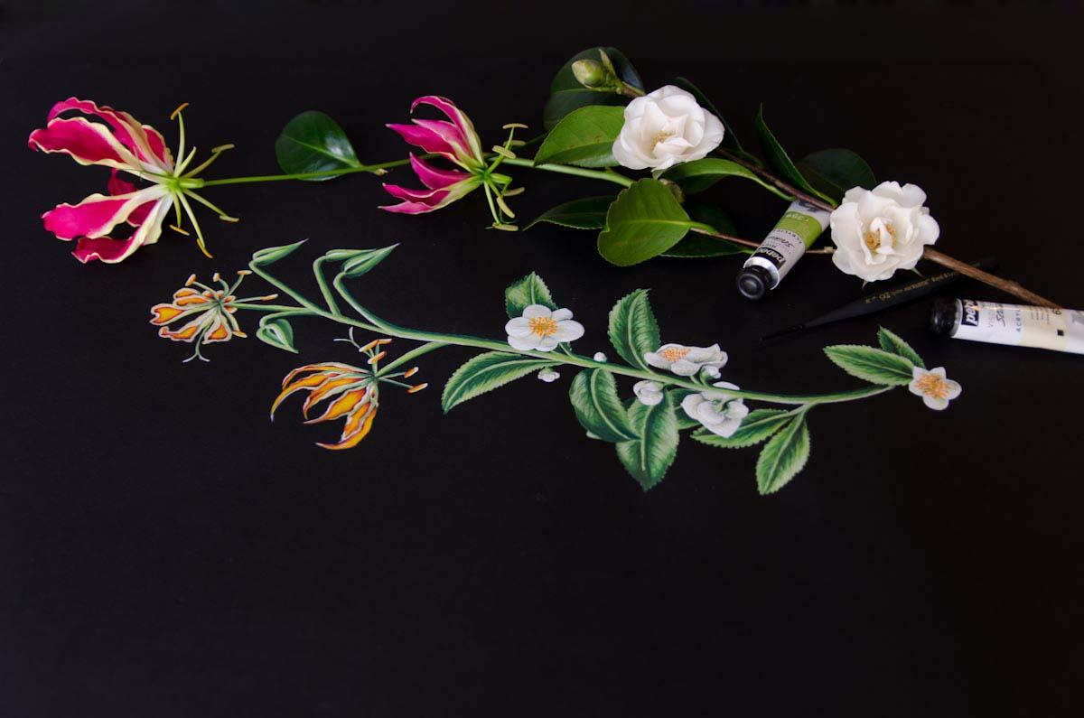 Ilustraciones a mano acrilico vestido Cristina Pina (10)