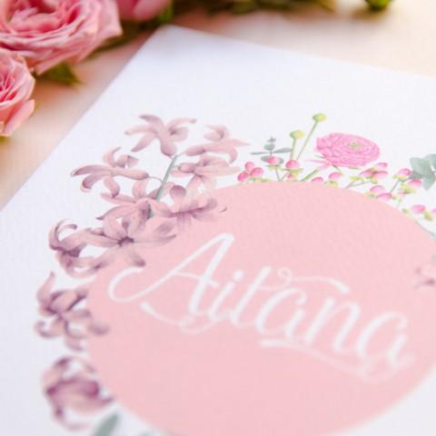 Invitaciones de boda acuarela y flores hechas a mano