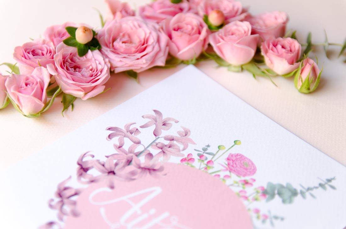 Invitaciones de boda acuarela y flores hechas a mano-7