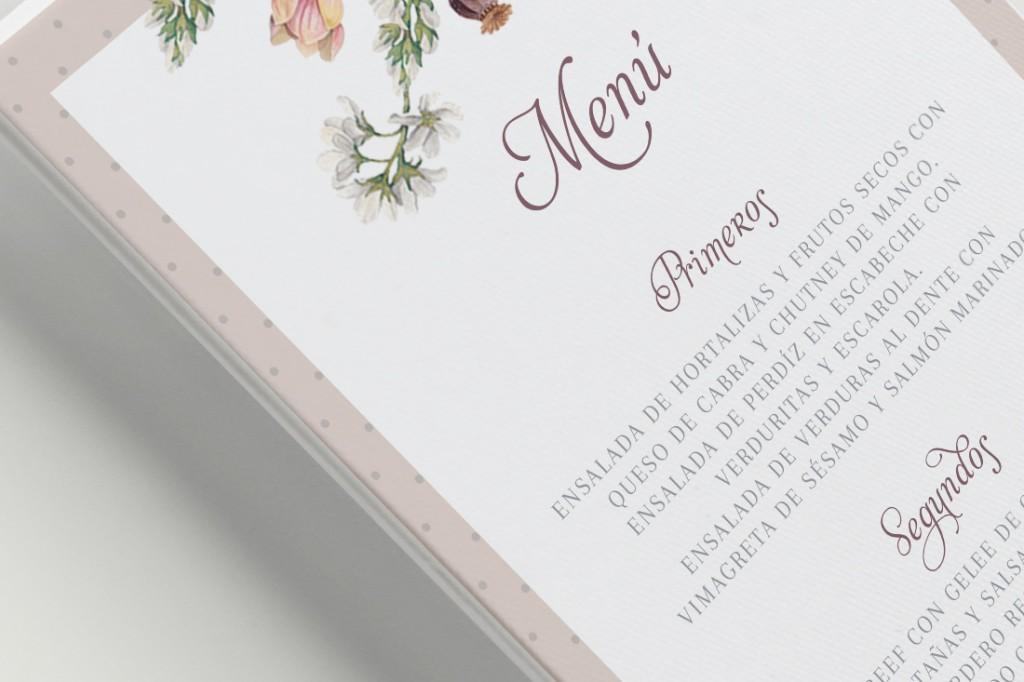 Minutas de boda clasica con flores AnversoDetalle