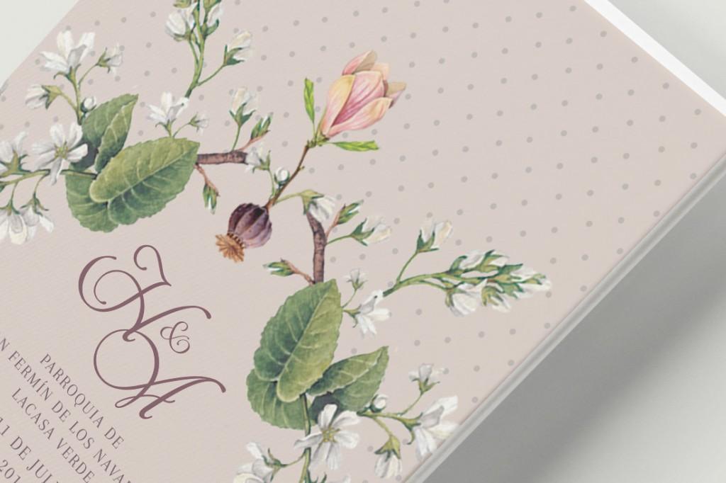 Minutas de boda clasica con flores Reverso Detalle