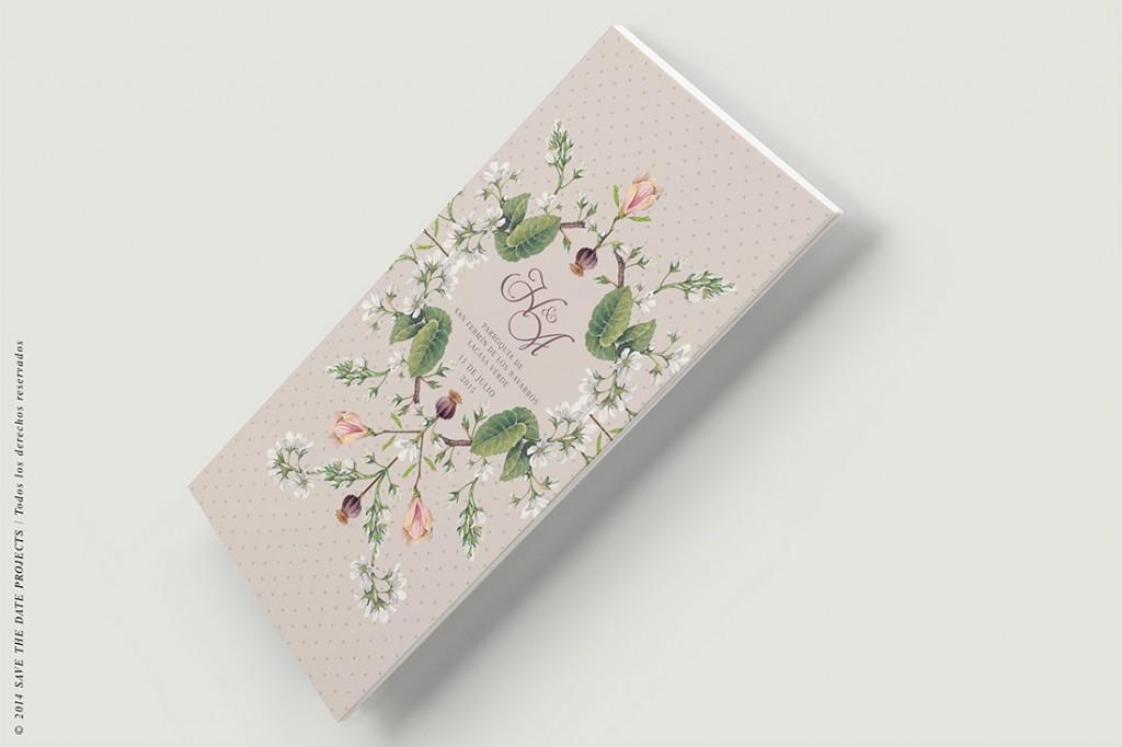 Minutas de boda clasica con flores Reverso