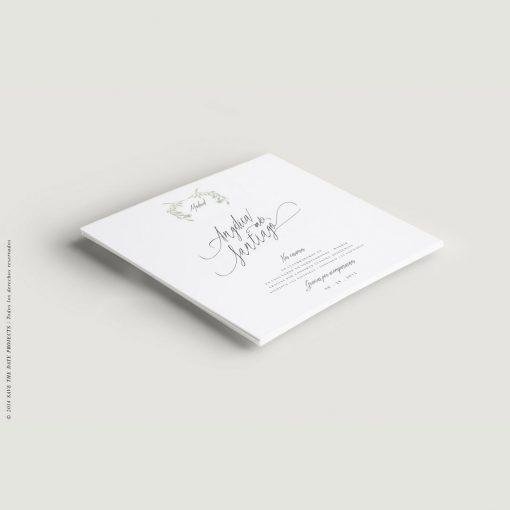 invitación olivo cuadrada y caligrafía